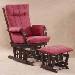 Artiva USA Home Deluxe Marsala Microfiber Cushion Glider Chair and Ottoman Set