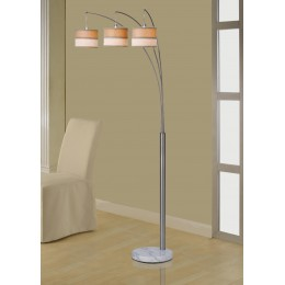 Artiva USA Luca 86-inch Contemporary 3-arch Brushed Steel Floor Lamp with Marble Base and Dimmer Switch