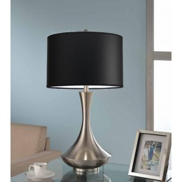 Artiva USA Aladdin Contemporary 30-inch Brushed Steel Compact Fluorescent Table Lamp with Black Shade