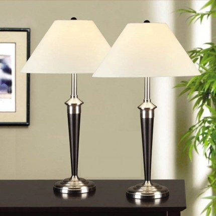Artiva USA 2-piece Classic Cordinates Espresso and Brushed Steel Table Lamps