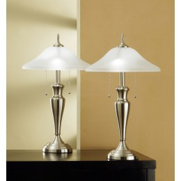 Artiva USA 2-piece Classic Cordinates 24-inch Brushed Steel Table Lamps with High Quality Hammered Glass Shades