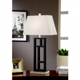 Artiva USA Perry Modern 31-inch Black and Brushed Steel Geometric-Sculptured Table Lamp with Empire Shade