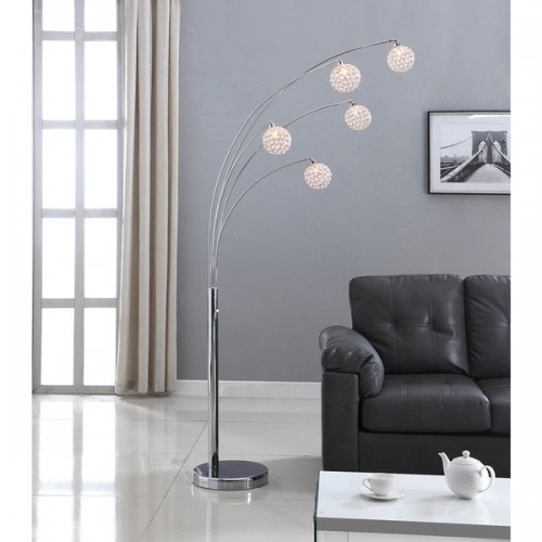 Floor lamp artiva usa manhattan 84 inch modern chrome 5 arch crystal ball floor mozeypictures Images