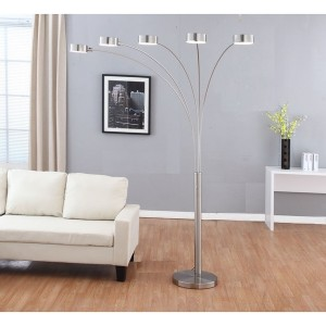 """Artiva USA """"Micah Plus"""" Modern LED 88-inch 5-Arched Brushed Steel Floor Lamp with Dimmer"""