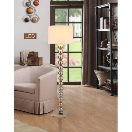 "Artiva USA ""Cosimo"" Dual-Light 61"" Brushed Nickel Steel Ball LED Floor Lamp W/ Dimmer"