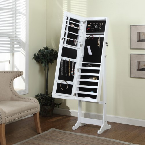Artiva USA Home Deluxe Floor Standing Jewelry Armoire with Mirror