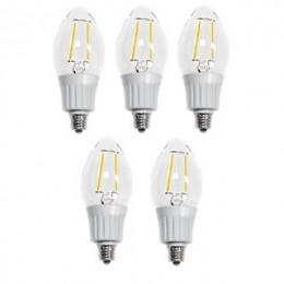 Artiva USA Dimmable Filament LED 2700K Warm Light Fine Tip Bulb 40 watt replacement (Set of 5) (L2A-4TDM-E12-27-5)