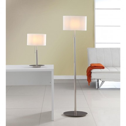 Artiva USA 'Audrey' Slim Oval European Design Brushed Steel Table and Floor Lamp Set