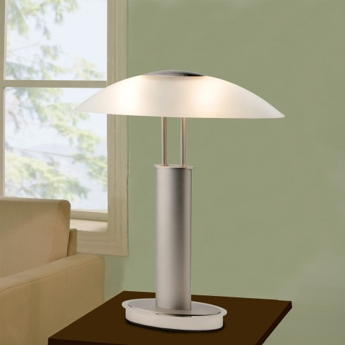 Artiva usa avalon 185 h touch table lamp with bowl shape artiva usa avalon modern 2 tone table lamp with oval canoe shaped frosted glass mozeypictures Image collections