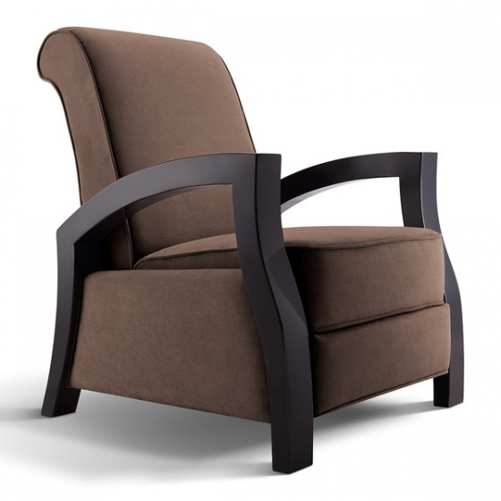 "Artiva USA ""Kuta"" Solid Wood Java Black and Premium Chocolate Microvelvet Recliner"