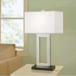 Artiva USA Geometric 29-inch Contemporary Chrome & Black Contrast Table Lamp with Rectangular Hardback Shade